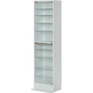 コレクションケース ガラスショーケース ガラス ハイタイプ 浅型 ホワイト 白 コレクションラック フォース ガラスショーケース ショーケース キュリオケース|woooods