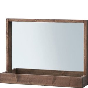 化粧台 鏡 ミラー ( 全身鏡 姿見 スタンドミラー 壁掛け フレーム 吊鏡 全身 ) ブラウン 茶色|woooods