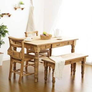 ダイニングテーブルセット おしゃれ 安い 北欧 食卓 4人用 四人用 3人 120×75 椅子 2脚 ベンチ 1脚 カントリー ナチュラル カントリー|woooods