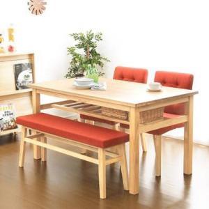 ダイニングテーブルセット ダイニングセット おしゃれ 安い 北欧 食卓 4人用 四人用 3人 135×80 椅子 2脚 ベンチ 1脚 天然木 ナチュラル カントリー|woooods