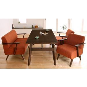 ダイニングテーブルセット 4点 北欧 4人用 4人 4点セット (Bタイプ) ブラウン 茶色×オレンジ 食卓 四点セット 食卓セット テーブル チェア いす 椅子 イス|woooods