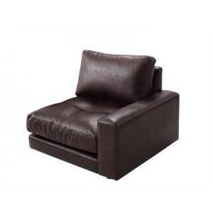 ソファー 1人掛け 1P 単品 左肘付き ダークブラウン 茶色 ソファ アームチェア 座椅子 応接 布 革 合皮 一人掛け 肘掛け 肘置き ハ|woooods