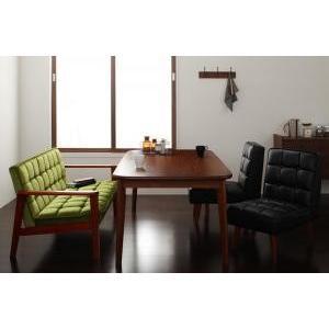ダイニングテーブルセット 4点 4人用 4人 4点 Eタイプ (幅160cm+2Pソファ+チェア×2) 2Pソファ バイキャストブラック 黒× チェア モケットグリーン 緑 食卓|woooods