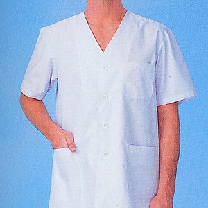 xe-25101 男性白衣/半袖上衣・衿無(ポリエステル65%綿35%) 作業服・抗菌防臭・帯電防止|workshopgorilla
