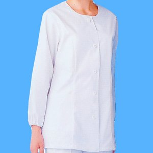 xe-25105 女性白衣/長袖上衣・衿無(ポリエステル65%綿35%) 作業服・抗菌防臭・帯電防止|workshopgorilla