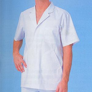 xe-25111 男性白衣/半袖上衣・衿付(ポリエステル65%綿35%) 作業服・抗菌防臭・帯電防止|workshopgorilla