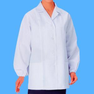 xe-25115 女性白衣/長袖上衣・衿付(ポリエステル65%綿35%) 作業服・抗菌防臭・帯電防止|workshopgorilla