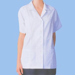 xe-25116 女性白衣/半袖上衣・衿付(ポリエステル65%綿35%) 作業服・抗菌防臭・帯電防止|workshopgorilla