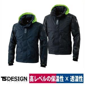 TS DESIGN メガヒートフラッシュ防水防寒ジャケット 18236 保温 透湿 ジャケット ブラック/ネイビー 秋冬|workway