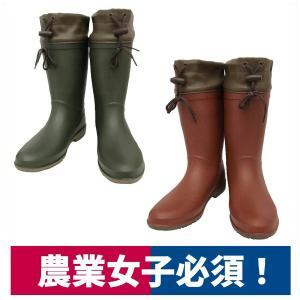 長靴 婦人ラバーインジェクションレインブーツ 園芸 農業 レディース カーキ/ワイン 阪神素地 LB-8420|workway