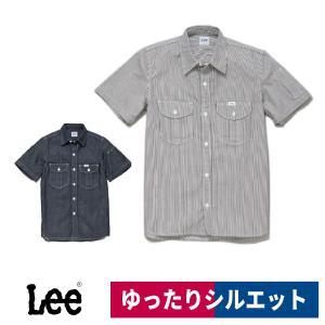 Lee レディースワーク半袖シャツ LWS43002 デニム 飲食店 カフェ 制服 作業着 S/M/L/XL workway