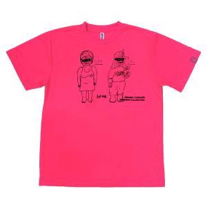 デハラユキノリ 限定 ドライ Tシャツ プリント 蛍光ピンク トメONOFF サトシONOFF|workway