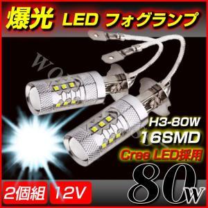 フォグランプ LED CREE製チップ 12V 80W 16連 H3 2個セット ホワイト 車 ライト ドレスアップ|world-class