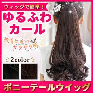 ウィッグ エクステンション ポニーテールウィッグ  ロングカール 48cm エクステ かつら 部分 自然 イメチェン つけ毛