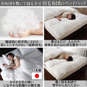 敷きパッド シングル ホワイトダック 成熟羽毛寝具シリーズ ベッドパッドプラス シングル 日本製|world-depo|02