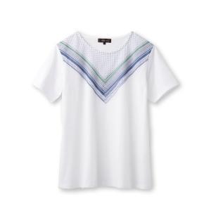 Reflect(リフレクト)【洗える】スカーフ柄プリントTシャツ|world-direct