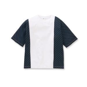 tk.TAKEO KIKUCHI(ティーケー タケオ キクチ)ストライプ切り替えドルマンTシャツ|world-direct
