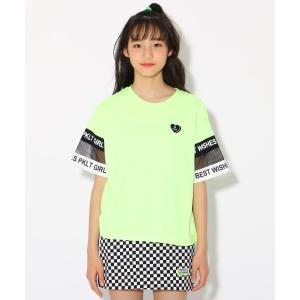 PINK-latte(ピンク ラテ)袖ロゴメッシュ切替 Tシャツ|world-direct