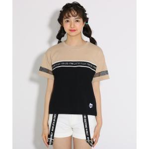 PINK-latte(ピンク ラテ)バイカラー胸ロゴ Tシャツ|world-direct