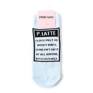 PINK-latte(ピンク ラテ)メッセージロゴソックス|world-direct