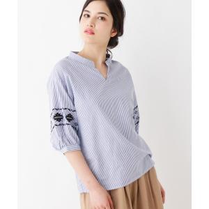 3can4on(Ladies)(サンカンシオン(レディース))ストライプ×刺繍シャツ world-direct