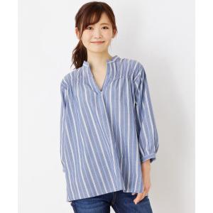 3can4on(Ladies)(サンカンシオン(レディース))防シワストライプシャーリングシャツ world-direct