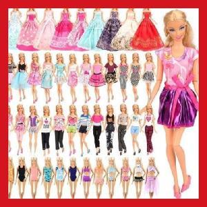リカちゃん 着せ替え 服 バービー人形用ドレス 人形用服 手作り 着せ替え 16枚セット=5枚ドレス+5着服+3枚ロングドレス+3枚水着 プレゼント