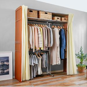 クローゼット 衣装ケース クローゼットハンガー 収納 棚付き 最大 幅200cm 伸縮式 2段 ハンガーラック ダブル カーテン付き 送料無料|world-i|02