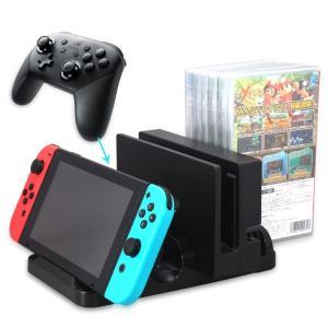 ・Nintendo Switch用の多機能縦置きスタンドです。Switch本体と周辺機器をコンパクト...