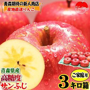 りんご 3kg箱 訳あり 送料無料 青森 リンゴ 3キロ箱 サンふじ 大小様々