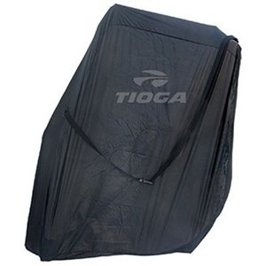 前後輪を外してホイールポケットに入れて収納するロード用輪行袋、コンパクトな縦置きタイプ。軽量化のため...