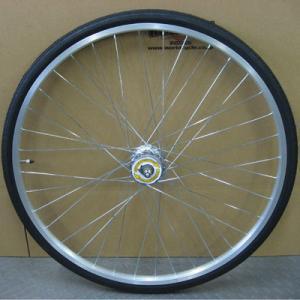 26インチフロントホイール アルミリム HILMO(ヒルモ)仕様 ハブダイナモ付(01CH) タイヤチューブセット worldcycle