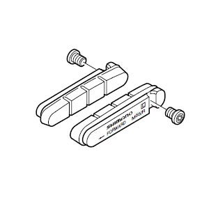 シマノ R55C(BR-7700/6500)セラミックリム用ブレーキシュー&固定ネジ(ペア) 【自転車】【ロードレーサーパーツ】【ブレーキ】 worldcycle