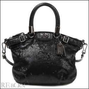 コーチ ハンドバッグ 18638 黒 型押し加工 スパンコー...