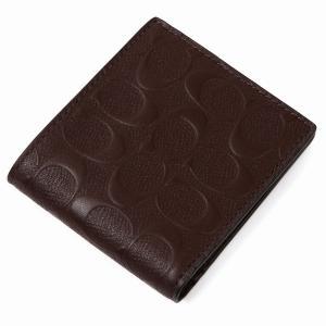 コーチ COACH 二つ折り財布 アウトレット シグネチャー メンズ 二つ折財布 ブラウン コーチギフトボックス付き|worlddrive