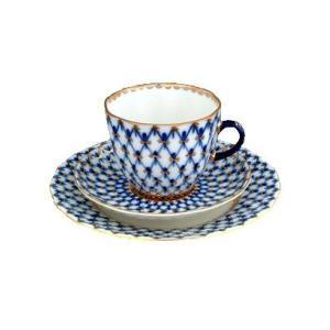 【商品名】インペリアル・ポーセレン(ロモノーソフ)コバルトネット コーヒーカップ&ソーサー&ケーキ皿...