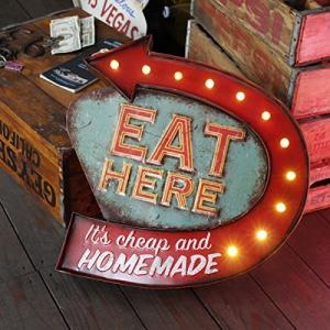 LEDライト付き ノスタルジックウォールサイン<EAT HERE>#20527 /壁面オブジェ/ブリキ看板/ライトア worldfigure