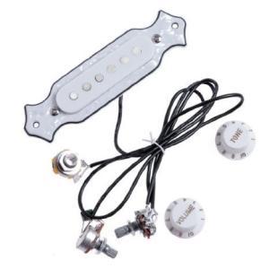 1 Set White Pearl Sound Hole ピックアップ Sounhole ピックアップ Wiring Harness Pre-wired Pots Knob|worldmusic