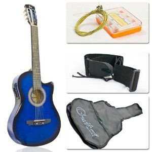 Blue Electric Acoustic Guitar Cutaway Style w/ Accessories エレクトリックアコースティックギター エ worldmusic