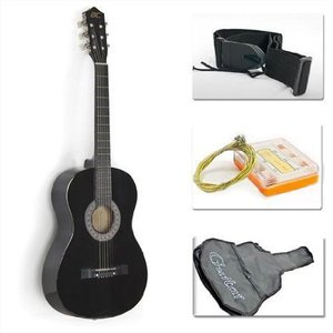 "38"" Black アコースティックギター スターターパッケージ 初心者用 (Guitar, Gig Bag, Strap, Pick) worldmusic"