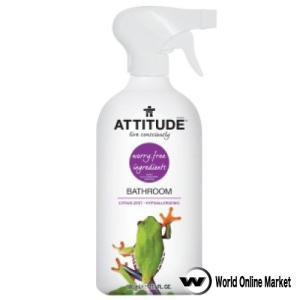 <バスルームクリーナー>カナダ生まれの地球に優しいナチュラル洗剤ATTITUDE(アティチュード)シリーズ。水回り全般で使用でき洗い上がりもさっぱりでティーツリーの除菌効果も。
