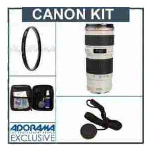 Canon EF 70-200mm f/4L USM AF Lens Kit, USA with Tiffen 67mm UV Filter, Lens Cap Leash, Professio