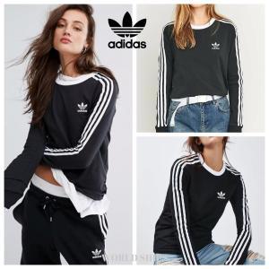 アディダス 長袖 adidas Originals Black Three Stripe Long ...