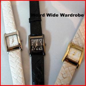 ★メール便発送OK★編み込みベルト風数字がかわいい腕時計 worldwidewardrobe