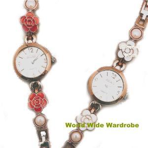 ★カメリアお花とパール風おしゃれバングルブレスレットウオッチレディース腕時計|worldwidewardrobe