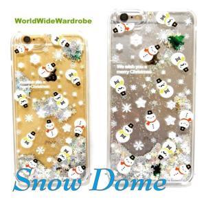 ★液体入り雪だるまスノードームiPhone6/6s,アイフォン6Plus用クリアカバージャケットケー ス|worldwidewardrobe