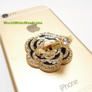 指輪風キラキララインストーン★カメリアお花スマートフォン/タブレット対応 落下防止 スマホバンカーリング/iPhone|worldwidewardrobe