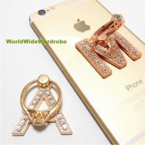 指輪風キラキララインストーン★イニシャルM&Aスマートフォン/タブレット対応 落下防止 スマホバンカーリング/iPhone|worldwidewardrobe