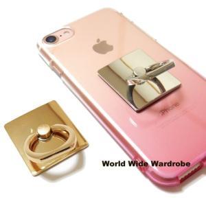 四角い★シンプルなスマートフォン/タブレット対応 落下防止 スマホバンカーリング/iPhonアンドロイド|worldwidewardrobe