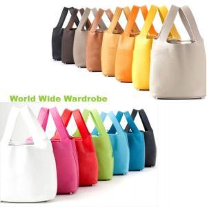 ★たっぷりマチあり上質本革レザーのバケツ型手提げバッグ|worldwidewardrobe